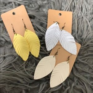 Faux leather earrings! All 3 for $15